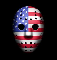 vintage goalie mask with usa flag vector image vector image