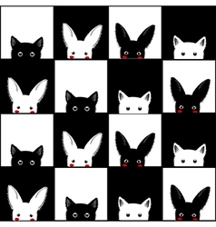 Black White Cat Rabbit Chess board Background vector image vector image