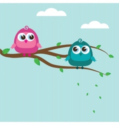 Cute birds on the tree branch vector image vector image
