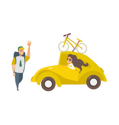 Girl in car man hiker waving hand vector