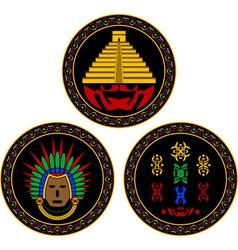 mayan and aztec symbols vector image vector image