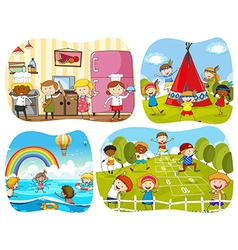 People in four different scenes vector image vector image