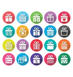 Present gift box flat design icons set vector image vector image