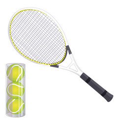 set of tennis rackets and tennis balls isolated vector image vector image