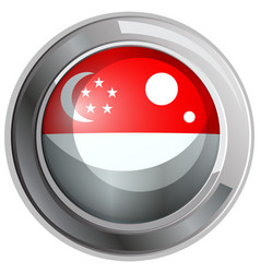 singapore flag on round badge vector image vector image