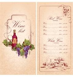 Wine list template vector image