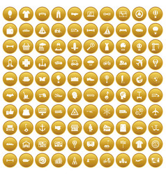 100 logistics icons set gold vector