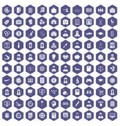 100 statistic data icons hexagon purple vector