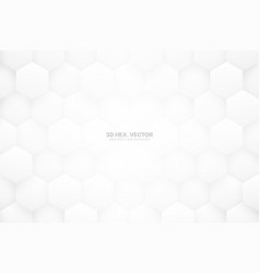 3d white hexagons abstract background vector image