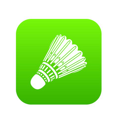 badminton icon green vector image