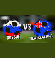 Banner football match russia vs new zealand vector