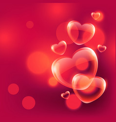Beautiful love hearts bubbles floating in air vector
