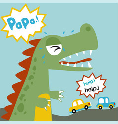 Big monster looking for his papa in a city cartoon vector