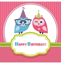 Birthday card with two owls vector image