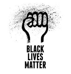 black lives matter human hand fist raised up vector image