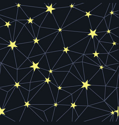 black yellow stars network seamless pattern vector image