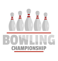 Bowling championship logo flat style vector