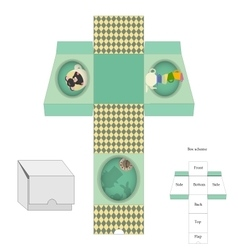 Box template Gift package Alice in Wonderland vector image vector image