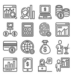 business icons set on white background vector image