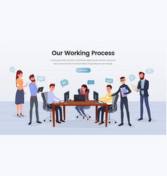 business team working process landing page vector image