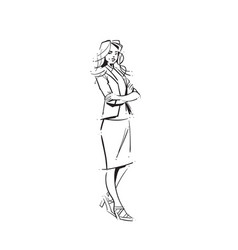 business woman folded hands concept businesswoman vector image