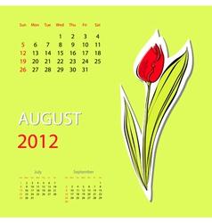 Calendar for 2012 august vector