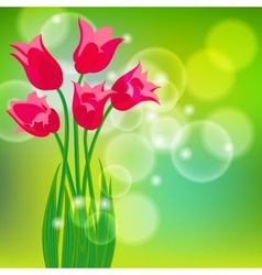 Card with red tulips on light green bokeh vector