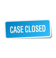 Case closed blue square sticker isolated on white vector