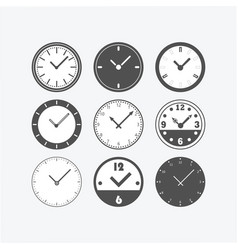 Circle black isolated flat classic clock watch set vector
