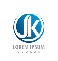 circle initial letter jk blue logo concept design vector image