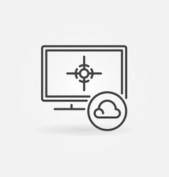 cloud gaming on computer concept icon in vector image