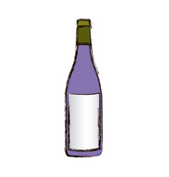 Color blurred silhouette with bottle of wine vector