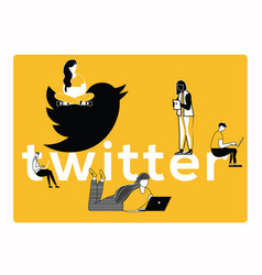 creative word concept twitter and people doing vector image