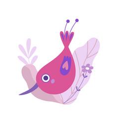 Cute little bird with long beak symbol spring vector