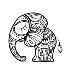 cute little elephant hand-drawn vector image