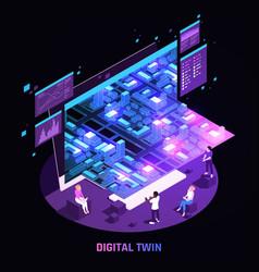 Digital twin technology isometric image vector