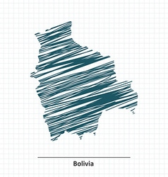 Doodle sketch of Bolivia map vector