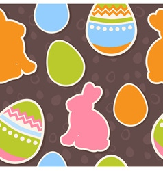 Easter eggs and bunnies colorful seamless pattern vector image