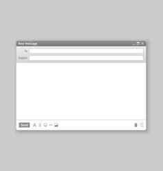 email window interface mail blank message vector image
