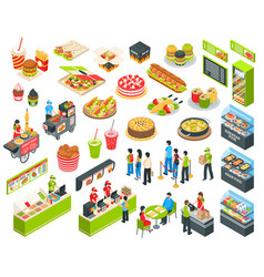 Fast food isometric cort set vector