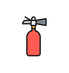 Fire extinguisher flat color line icon isolated vector