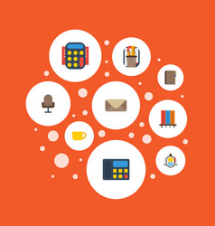 flat icons bookshop armchair calculate and other vector image vector image