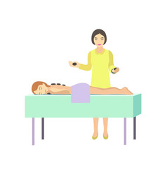 girl relaxes in spa salon with massage backs vector image