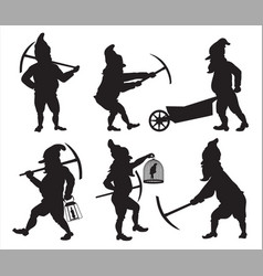 GNOMES Silhouettes SET1 vector