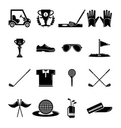 Golf icons set symbols simple style vector