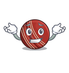 grinning cricket ball isolated in cartoon vector image