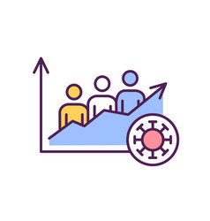 Growing amounts infected people rgb color icon vector