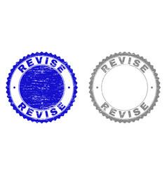 Grunge revise textured stamp seals vector