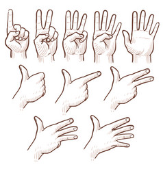 Hand drawing sketch man hands showing numbers vector