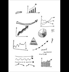 hand drawn set of arrows in doodles style vector image